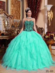 Embroidery with Beading Sweetheart Apple Green and Black Quinceanera Dress