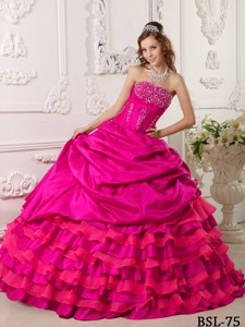 Coral Red Ball Gown Strapless Floor-length Taffeta Beading Quinceanera Dress