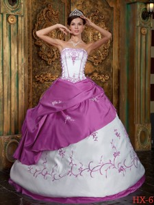 Fuchsia and White Strapless Floor-length Embroidery Satin Quinceanera Dress