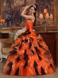 Orange and Black Ball Gown Strapless Floor-length Organza Quinceanera Dress