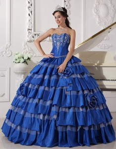 Blue Ball Gown Sweetheart Floor-length Taffeta Embroidery Quinceanera Dress