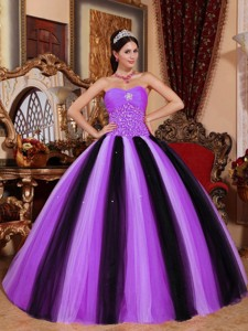 Multi-colored Ball Gown Sweetheart Floor-length Tulle Beading Quinceanera Dress
