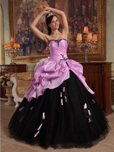 Pink and Black Ball Gown Sweetheart Floor-length Hand Flowers Tulle and Taffeta Quinceanera Dress