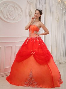 Orange Red Ball Gown Strapless Floor-length Taffeta and Tulle Appliques Quinceanera Dress