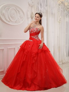 Red Ball Gown Strapless Floor-length Taffeta and Organza Appliques Quinceanera Dress