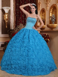 Blue Ball Gown Strapless Floor-length Fabric With Rolling Flowers Beading Quinceanera Dress