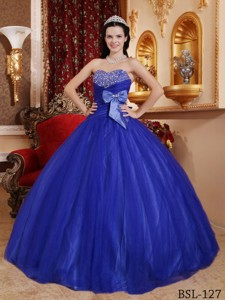 Blue Ball Gown Sweetheart Floor-length Tulle and Tafftea Beading Quinceanera Dress