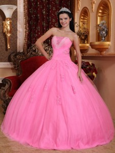 Rose Pink Ball Gown Strapless Floor-length Tulle Beading Quinceanera Dress