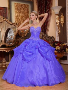 Blue Ball Gown Sweetheart Floor-length Taffeta and Organza Appliques Quinceanera Dress