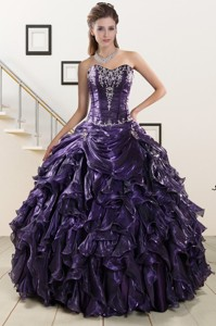 Exquisite Sweetheart Purple Quinceanera Dress With Embroidery And Ruffles