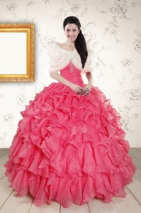 Beading And Ruffles Hot Pink Quinceanera Dress With Strapless