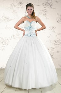 Modern White Quinceanera Dress With Appliques And Beading