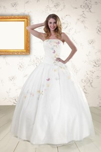 Pretty White Strapless Appliques Sweet 16 Dress
