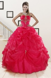 Perfect Red Sweetheart Quinceanera Dress With Appliques