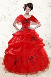 Sweetheart Red Quinceanera Dress With Applique