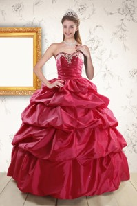 Appliques Red Quinceanera Dress With Lace Up