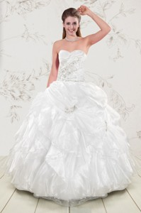 Classical Beading And Ruffles Quinceanera Dress In White