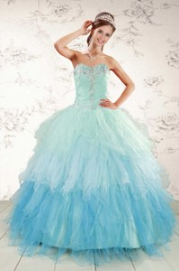 Fashionable Multi Color Quinceanera Dress With Beading And Ruffles
