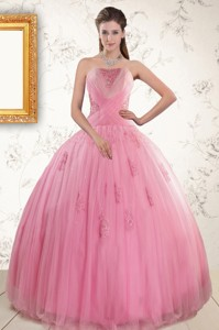 Pretty Pink Quinceaneras Dress With Appliques And Beading
