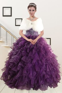 Luxurious Beading And Ruffles Quinceanera Dress In Purple