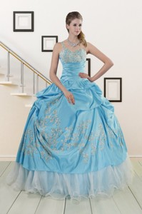 Pretty One Shoulder Appliques And Beaded Quinceanera Dress In Aqua Blue