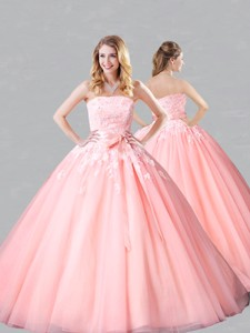 Classical Court Train Belted and Applique Sweet 16 Dress in Baby Pink