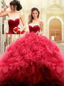 Puffy Skirt Sweetheart Beaded Top and Ruffled Prom Gown in Red
