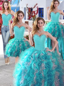 Discount Baby Blue And White Detachable Quinceanera Dress With Beading And Ruffles