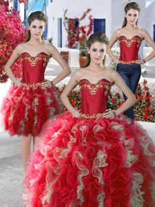 Beautiful Applique And Ruffled Detachable Quinceanera Dress In Organza