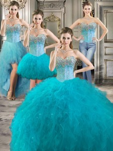 Modern Beaded Bodice And Ruffled Detachable Quinceanera Dress In Teal