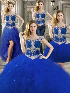 Gorgeous Off The Shoulder Royal Blue Detachable Quinceanera Dress With Beading And Ruffles
