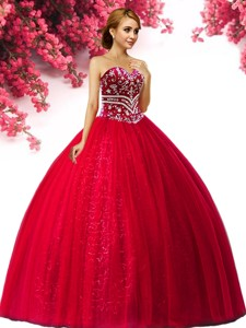 Hot Sale Beaded Tulle Big Puffy Quinceanera Dress in Red