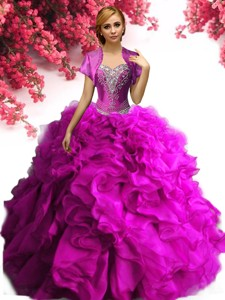 Beautiful Big Puffy Fuchsia Quinceanera Dress with Beading and Ruffles