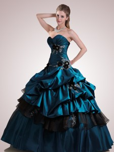 Custom Made Sweetheart Dark Blue Quinceanera Dress With Appliques