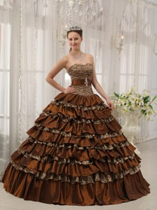 Brown Ball Gown Sweetheart Floor-length Taffeta and Zebra or Leopard Ruffles Quinceanera Dress