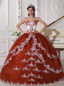 Rust Red and White Ball Gown Strapless Floor-length Organza Appliques Quinceanera Dress