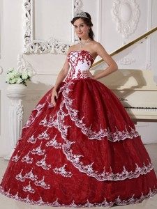 Wine Red and White Ball Gown Strapless Floor-length Organza Appliques Quinceanera Dress