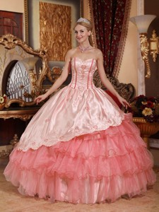 Watermelon Ball Gown Sweetheart Floor-length Taffeta and Oragnza Embroidery Quinceanera Dress