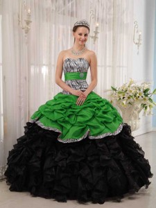 Brand New Green and Black Ball Gown Sweetheart Floor-length Quinceanera Dress