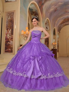 Purple Ball Gown Strapless Floor-length Bows Sequins and Organza Quinceanera Dress