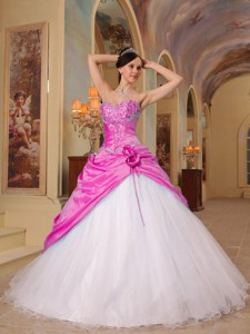 Hot Pink And White Princess Sweetheart Floor-length Beading Tulle And Taffeta Quinceanera D