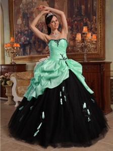 Apple Green and Black Ball Gown Sweetheart Floor-length Hand Flowers Tulle and Taffeta Quinceanera D