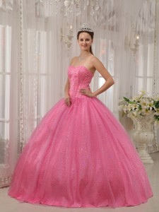 Pink Ball Gown Sweetheart Floor-length Beading Quinceanera Dress