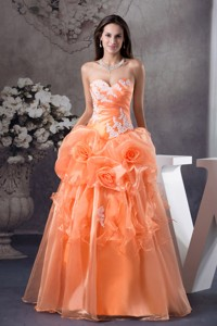 Hand Made Flowers With Appliques Sweetheart Prom Dress