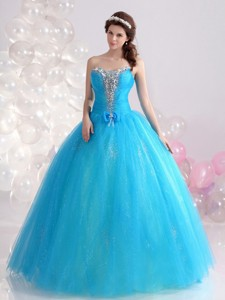 Exquisite Blue Quinceanera Dress With Rhinestones And Bowknot