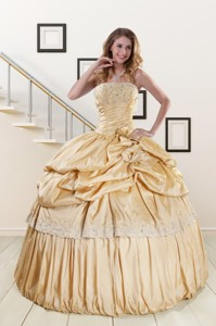 Brand New Champagne Quinceanera Dress With Appliques