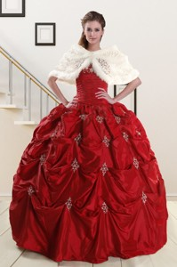 Discount Strapless Appliques Wine Red Quinceanera Dress