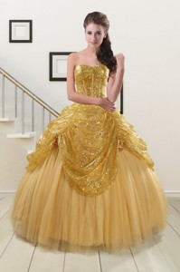 Most Popular Sweetheart Sequined Quinceanera Dress In Gold