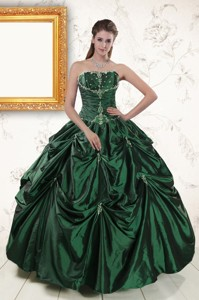 Brand New Style Appliques Quinceanera Dress In Dark Green