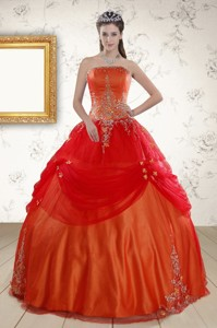 Beautiful Strapless Appliques Sweet 16 Dress In Orange Red